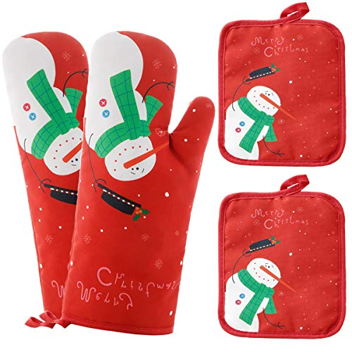 Win Change Oven Mitts and Potholders BBQ Gloves-Oven Mitts and Pot Holders with Recycled Cotton Infill Silicone Non-Slip Cooking Gloves for Cooking Baking Grilling (4-Piece Set) (Red Christmas Snow)