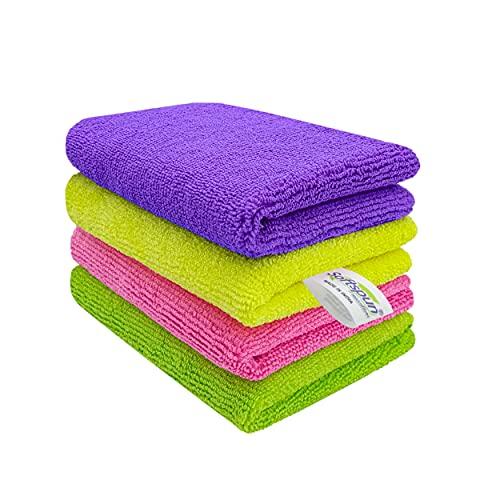SOFTSPUN Microfiber Cloth - 4 pcs - 30x40 cms - 340 GSM Multicolor - Thick Lint & Streak-Free Multipurpose Cloths.