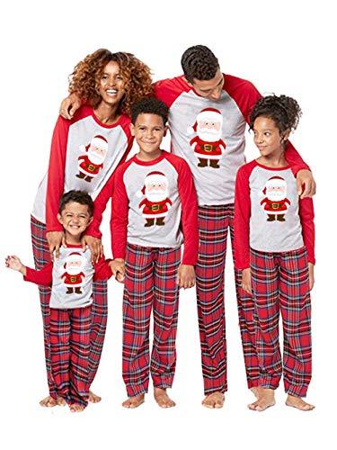 Christmas Matching Family Pajamas Set Xmas Sleepwear Parent-Child Nightwear Santa Claus Print Tops + Plaids Pants (XL, Dad) Red