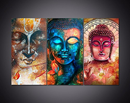 Epikkanvas - 3 PCS Abstract Buddha Canvas - 3 Different Buddha Artwork Colorful Buddha Wall Art for Office/Home Wall Decor (Large:4060cm x 3 pcs)