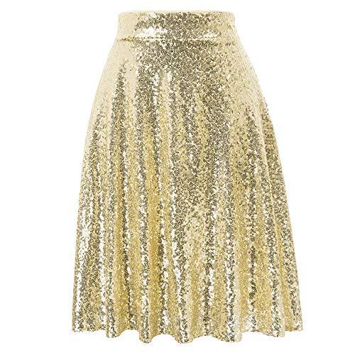 GRACE KARIN Falda plisada con lentejuelas de cintura alta, línea A, para fiestas, minifalda de carnaval dorado M