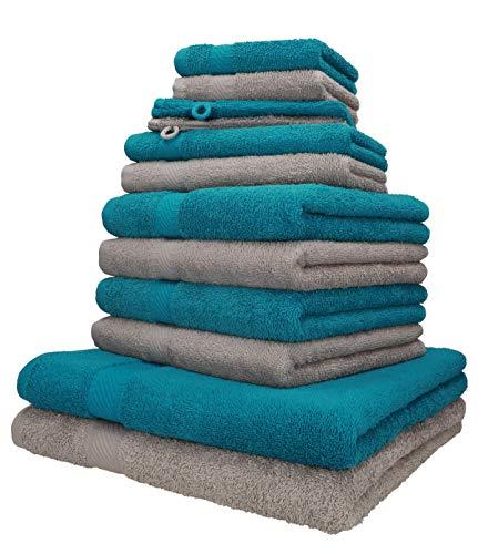 Betz 12-TLG. Handtuch-Set Palermo 100% Baumwolle 2 Liegetücher 4 Handtücher 2 Gästetücher 2 Seiftücher 2 Waschhandschuhe Farbe Petrol und Stone