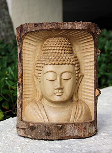 G6 Collection Wooden Serene Buddha Bust Head Statue Hand Carved Sculpture Handmade Figurine Decorative Home Decor Accent Handcrafted Traditional Contemporary Decoration Buddha Head Crocodile Wood