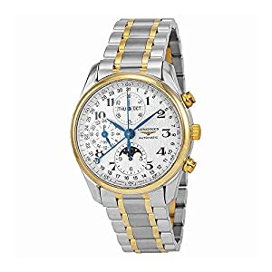 Longines Master Collection Chronograph White Dial Steel and 18kt Yellow Gold Mens Watch L26735787 Shop and Now and review image