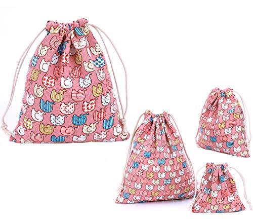 Abaría - 4 unidades bolsa de algodón grande - Bolsa inserto organizador para ropa juguete pañales - Bolsos inserto bebé - grande 37 x 40 cm, mediano 25 x 30 cm, pequeña 19 x 23 cm, mini 14 x 16 cm
