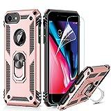 LeYi Funda iPhone SE 2020/6 / 6S / 7/8 Armor Carcasa con 360 Anillo iman Soporte Hard PC y Silicona TPU Bumper antigolpes Fundas Case para movil iPhone 7 con HD Protector de Pantalla,Oro Rosa