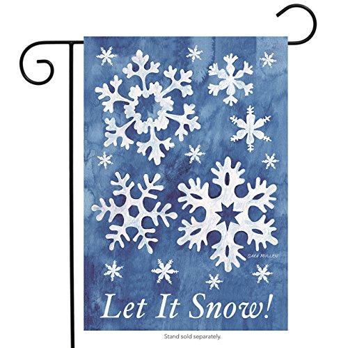 """Briarwood Lane Let It Snow! Winter Garden Flag Snowflakes 12.5"""" x 18"""" Seasonal"""