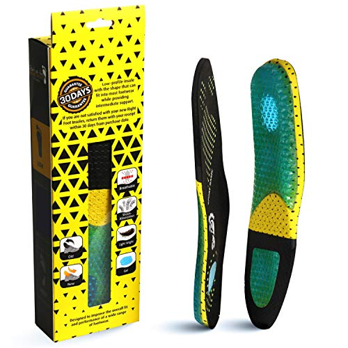 RightFoot Orthotic Gel Insoles | Shock Absorption Cushion Work Shoe Soles for Arch Support, Sore Feet, Back Pain, Plantar Fasciitis | Full-Length for Flat Feet, Running