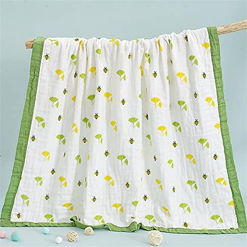 Manta de muselina para cochecito de bebé, manta de verano de 6 capas de muselina de algodón para bebé recién nacido, manta de recepción unisex para bebé (110 x 110 cm), verde
