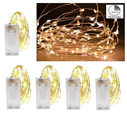 Vanorell 5 x 20 LED Drahtlichterkette Timer Draht Lichterkette Warmweiß Lichterkette Lichterkette Lämpchen Batterie