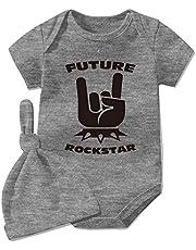 YSCULBUTOL Mono de bebé gemelos recién nacidos ropa de bebé mono futuro rock estrella recién nacido niño