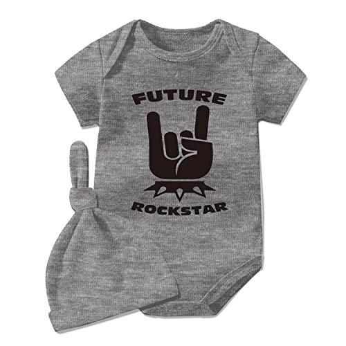 YSCULBUTOL Mono de bebé gemelos recién nacidos ropa de bebé mono futuro rock estrella recién nacido niño - gris - 0-3 meses