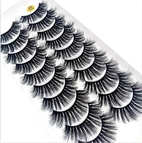 Multistyle 10 paires 3D doux Mink cheveux Faux cils main Wispy Fluffy longs cils Outils de maquillage des yeux naturels Faux cils (Color : 120)