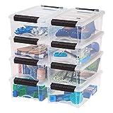 IRIS USA TB-35 5 Quart Stack & Pull Box, Clear, 10 Pack