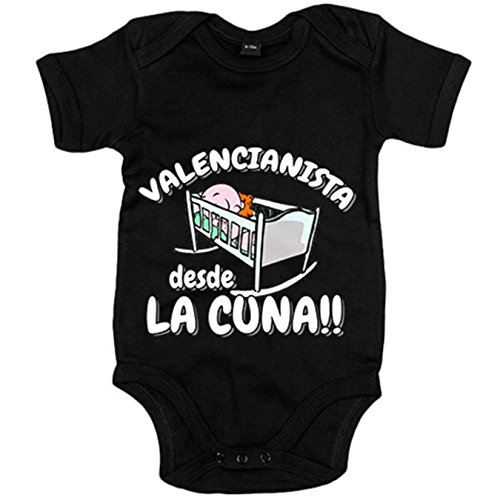 Body bebé Valencianista desde la cuna Valencia fútbol - Negro, 6-12 meses