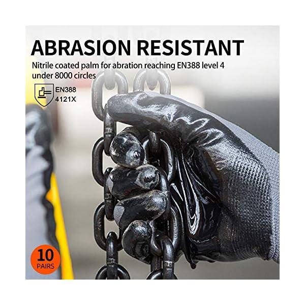 Vgo 10-Pares Guantes de Trabajo y Jardinería con Revestimiento de Nitrilo (Talla 7/S, Negro, NT2110)