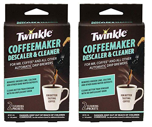 Twinkle Coffeemaker Cleaner & Descaler - Compatible with Mr. Coffee & All Automatic Drip Units - Set of 2 (Total 4 Packets)