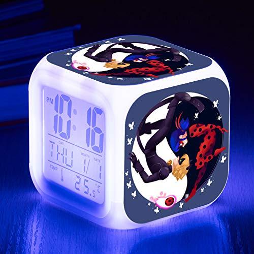 HHKX100822 Led Colorido Color-Cambio Despertador Reloj Ladybug Chica Despertador Silencio Pequeño Despertador 3