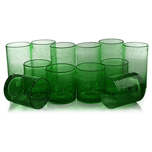 Artland Iris Green Seeded 12 Piece Double Old Fashioned Glass and Highball Tumbler Set