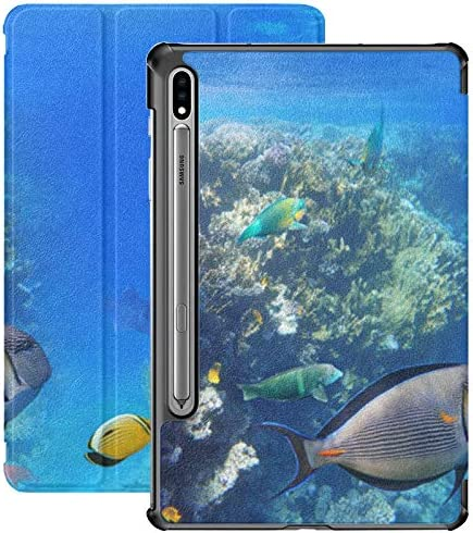 Colorful Coral Reef Exotic Fishes Red Galaxy Tab S7 Plus Book Cover for Samsung Galaxy Tab S7 product image