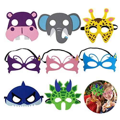 EQLEF Fühlte Tiermasken Filz Tiermasken Für Kinder Tiermasken Set, Spaß Butterly Hippo Giraffe Elefantenhai und Dinosaurier Maske Cartoon für Maskerade Geburtstag Party Weihnachten Halloween - 8 STK