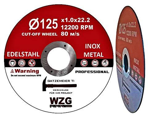 25 St. Trennscheibe für Flex 1,0mm dünn 125mm für Edelstahl/Stahl/Kunststoff von WZG