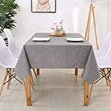 xiaopang Mantel redondo bordado decoración elegante algodón lino mantel con borlas, a prueba de polvo, lavable para mesa de comedor 130 x 220 cm