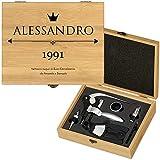 MURRANO Set Cavatappi da Vino Deluxe - Kit da Sommelier Personalizzato - Scatola in legno di bambù + 8 pezzi di Accessori Vino - regalo uomo - Auguri
