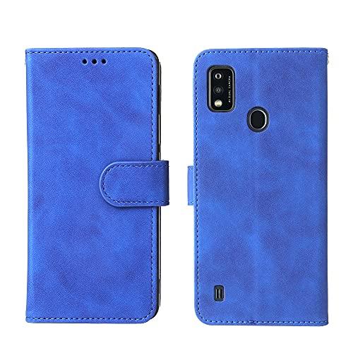 Dedux für ZTE Blade A51 Hülle, Flip Folio Hülle PU-Leder-Buch-Handy-Abdeckung,Brieftaschen-Ständer-Funktion Magnetverschluss ID-Kartenhalter-Slot-Hülle,(Blau)