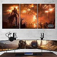 キャンバス塗装 ぶら下げ画 World of Warcraftのは、ファンアート壁の装飾プレイルームの画像をプリントSylvanas火災バーニングTeldrassilゲームポスター絵画 (Size (Inch) : 40x60cm x 3 pcs)