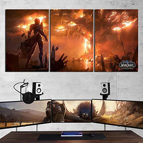 HCHD World of Warcraft Juego Pintura Teldrassil Sylvanas Fuego ardiente impresión del Cartel de Fan Art decoración de la Pared Sala de Juegos Imagen (Size (Inch) : 30x45cm x 3 pcs)