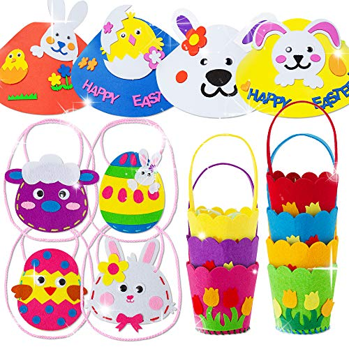 15 PCS Easter DIY Craft Felt Sewing Kit for Kids- Include 7 Mini Baskets, 4 Cross-Body Bags, 4 Easter Hats, Learn to Sew Educational Toys for Girls and Boys,Easter Party Supplies