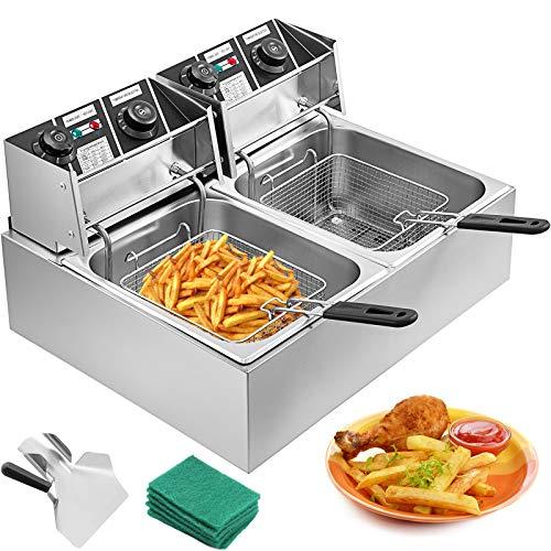 VEVOR 20L 5000W Friteuse Electrique INOX Friteuse Commerciale en Acier INOX à Double Réservoir Friteuse avec 2 Paniers à Friture avec Poignée en Caoutchouc Température 60-200 ℃ pour Frire