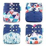 Wenosda 4PCS Baby Taschenwindeln Stoffwindel Waschbare wiederverwendbare Windeln Legen Sie eine All-in-One-Taschenwindel für die meisten Babys und Kleinkinder ein (Schwarz)