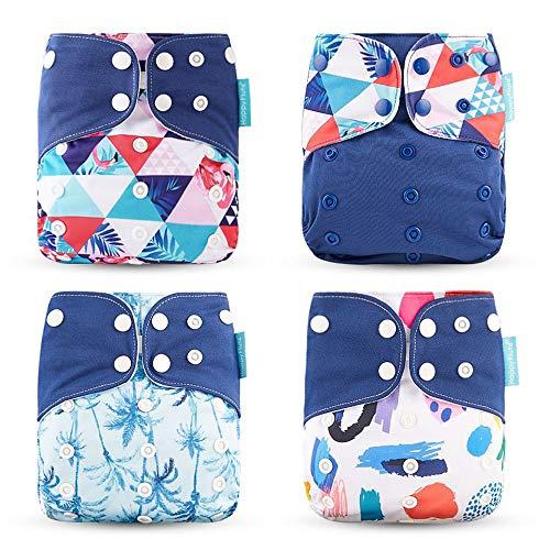 Wenosda 4PCS Baby Taschenwindeln Stoffwindel Waschbare wiederverwendbare Windeln Legen Sie eine All-in-One-Taschenwindel für die meisten Babys und Kleinkinder ein (Navy Blau)