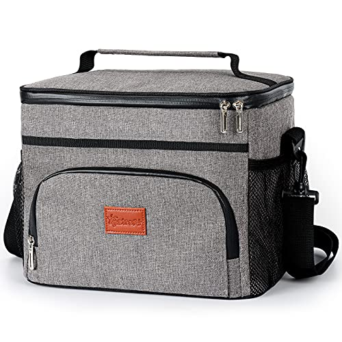 AstroAI ソフトクーラー クーラーボックス クーラーバッグ 保冷保温バッグ ランチバッグ クーラーバッグ 断熱 15L 330ml*24缶 キャンピング お釣り用クーラーボックス グレー