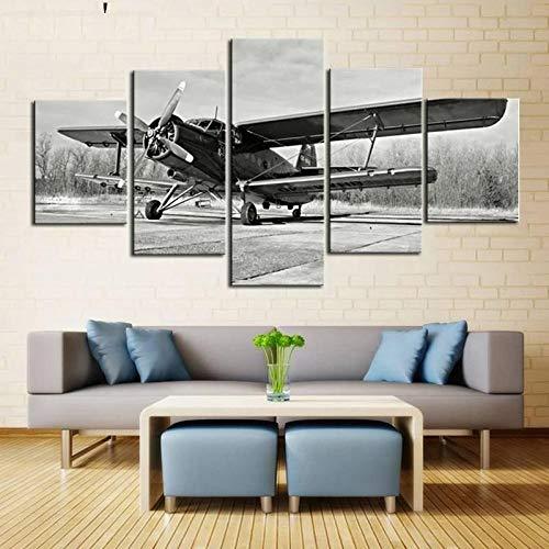 KOPASD Cuadros Modernos Impresión De Imagen Artística Digitalizada | Lienzo Decorativo para Tu Salón O Dormitorio | Avión Blanco Y Negro | 5 Piezas 150X80Cm