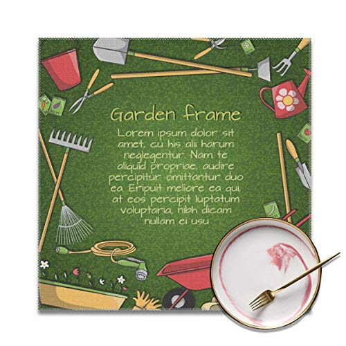 Houity Tuingereedschap Frame Wasbaar Zacht Voor Keuken Diner Tafelmat, Gemakkelijk te reinigen Handige Opvouwbare Opslag Placemat 12x12 Inches Set Van 4