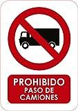 Oedim Señal en PVC Prohibido Paso de Camiones Tamaño A4 (29,7x21cm) Señalítica en Material PVC Resistente