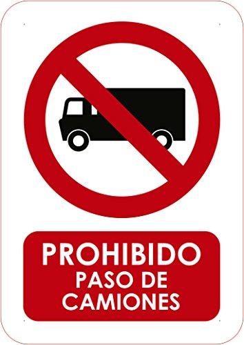 Oedim Señal en PVC Prohibido Paso de Camiones Tamaño A4 (2