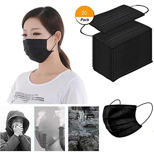 LILIGOD 20 Stück Schwarz Einmal-Mundschutz, Outdoor Schutz Bandana, Staubschutz atmungsaktiv Erwachsene Face Cover