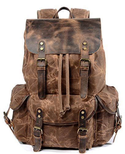 WUDON Travel Backpack for Men & Women, Genuine Leather-Waxed Canvas Shoulder Rucksack, Vintage Style W Laptop Space & Multiple Pockets, Large Bag For Travel, School, University & More (Coffee)