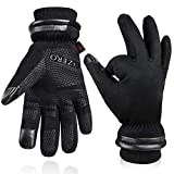 OZERO Cold Weather Gloves for Men Waterproof and Touch Screen Fingers Insulated Cotton Warm in Winter Black XXL