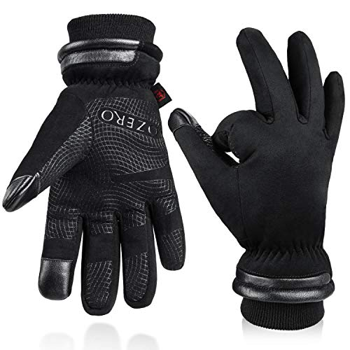 OZERO Insulated Work Gloves for Men Waterproof and Touch Screen Fingers Warm Cotton