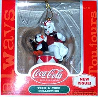 Coca-cola Bear and Penguin sitting on vintage 1966 Harlequin Diamond Coke Can Christmas Ornament
