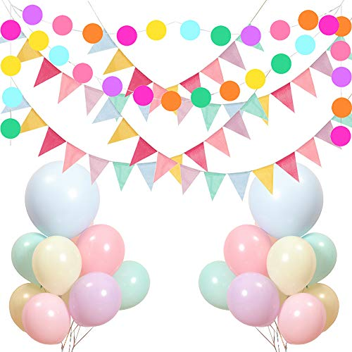 Skystuff Bunting Banner 48 Flags 4 Meters Bunting Flags + 50Pcs Macarons Balloons and 1Pc 3 Meters Round Paper Garland Garden Bunting for Birthday Party Wedding Decorations(4 Bunting Banner)