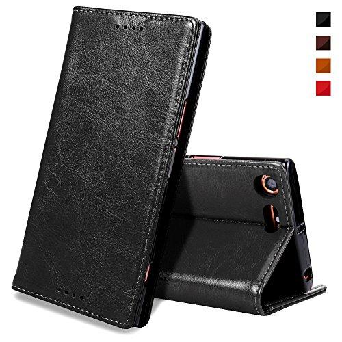 EATCYE Sony XZ Premium Handyhülle,Sony XZ Premium Hülle, [Echt Leder] Handyhülle Dünn Brieftasche Lederhülle Schutzhülle [Versteckt Magnet] Echt Leder Brieftasche Hülle für Sony XZ Premium (Schwarz)