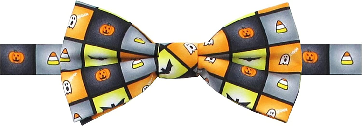Boys' Spooky Halloween Squares Jack-O'-Lantern Ghost Candy Corn Bats Adjustable Pre-Tied Banded Bow Tie