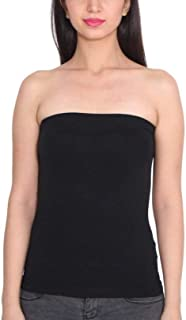 Ritu-Creation Women's/Girl's Strapless Stretchable Long Bandeau Tube Top Camisole (Free Size)-Black