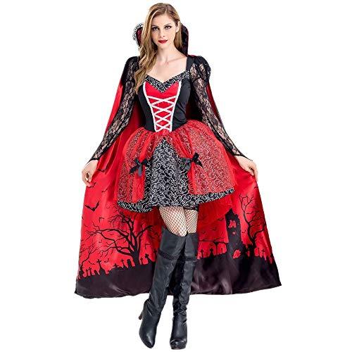 Women's Royal Vampire Costume Deluxe Set Halloween Gothic Victorian Vampiress Queen Dress Up Party for Adult Girls L